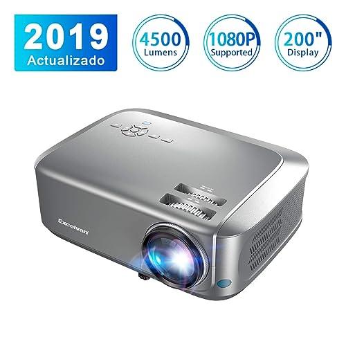 Proyector4500 Lúmenes Excelvan Proyector de Video Portátil Resolución 1280 768P Soporte 1080P Full HD LCD Contraste 1000 1 1080P USB VGA SD HDMI para Viajes y casa Compatible con PS4 TV Box Mobile PC