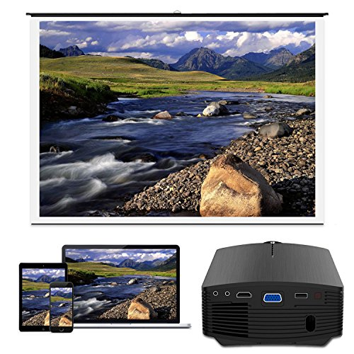 Smartphone Projector Vamvo Mini Portable Video Projector 1080P Support 1800 lumens 130