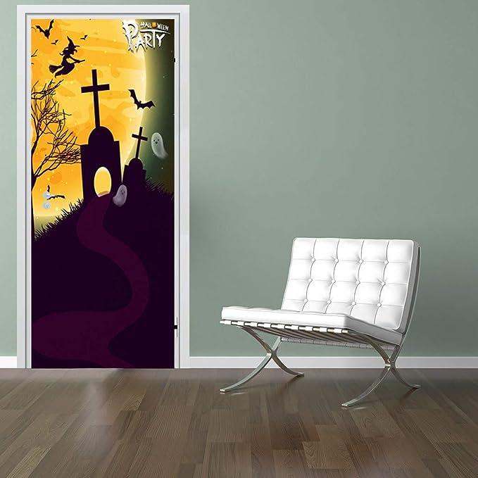 YWLINK 2PC Etiqueta De La Puerta Nuevo Vinilo Decorativo De Halloween DecoracióN De La Pared De Arte Etiqueta De Vidrio Mural Apliques DecoracióN del Hogar: Amazon.es: Hogar