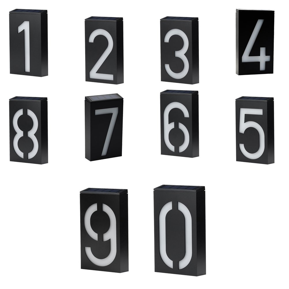 Jozocy Solar Numbers Plaque Light, Waterproof Personalized Large Black and White Modern LED House Number Overhead Light Door Plate/House Number/Address Number/Custom Street Number - No.6