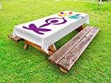 Lunarable Yoga Outdoor Tablecloth, Meditation and Wellbeing Concept Man in Lotus Pose with Rainbow Colored Drop Shapes, Decorative Washable Picnic Table Cloth, 58 X 84 inches, Multicolor