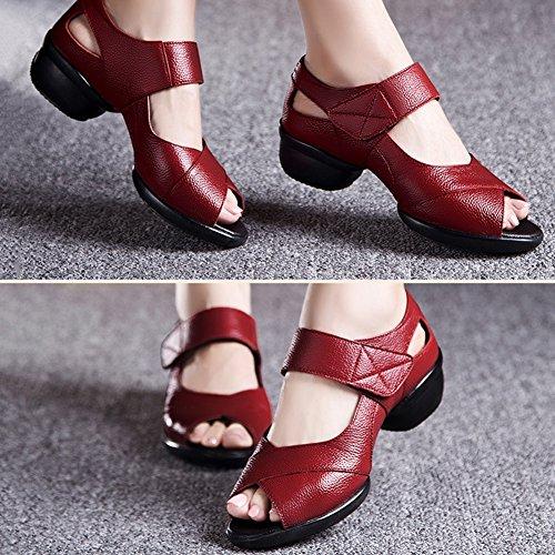 9e062070206 PENGFEI Verano Zapatos De Baile Sandalias Jazz Danza Cuadrada Medio Talón  Fondo Suave Respirable Hembra 3