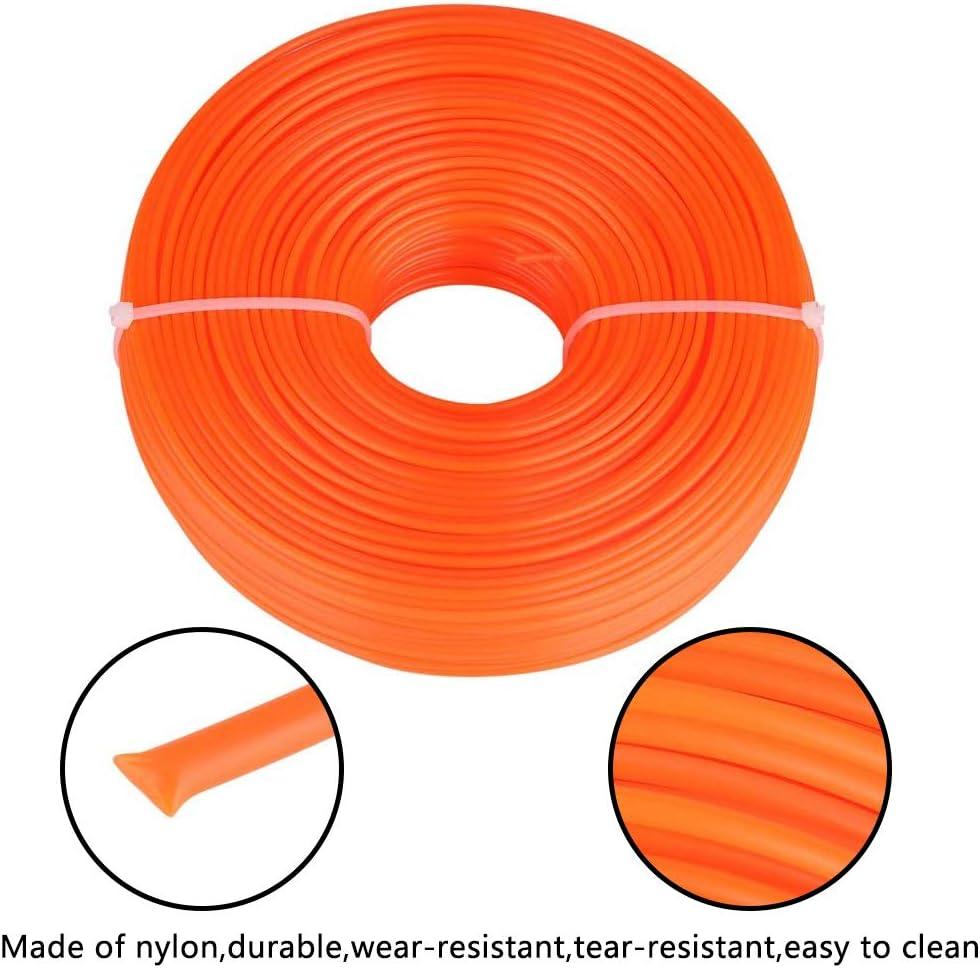 YUESEN Linea di Tosaerba Linea di Taglio Filo di Nylon Tondo Arancione 2,4 mm x 100 m per Decespugliatore