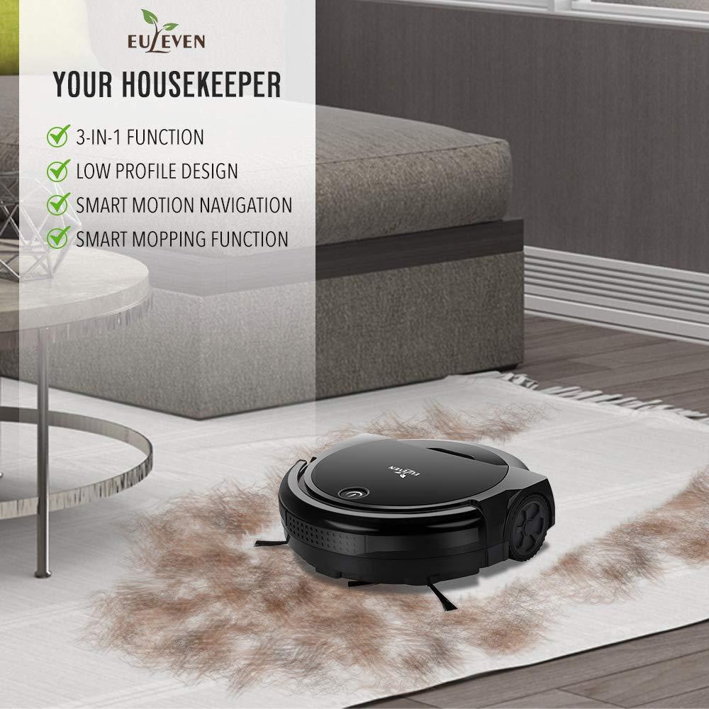 SYJ-3071B/_BK HEPA Filter for Pet Hair Allergies Friendly Euleven 3-in-1 Floor Robotic Vacuum with Smart Mopping Cleaner for Hardwood Floor Short Carpet