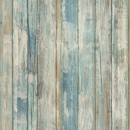 RoomMates Blue Distressed Wood Peel and Stick Wallpaper (Aqua Accent Wall)