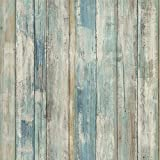 RoomMates Distressed Wood Blue Peel and Stick Wallpaper | Removable Wallpaper | Self Adhesive Wallpaper