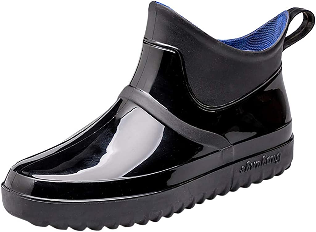 Kauneus Rain Boots Mens Womens Anti-Slip Waterproof Solid Wading Shoes Unisex Outdoor Fishing Professional Short Boot