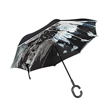 BENNIGIRY Paraguas Inverso Plegable de Arte Indio Nativo Americano Doble Capa, Protección UV Grande Recto