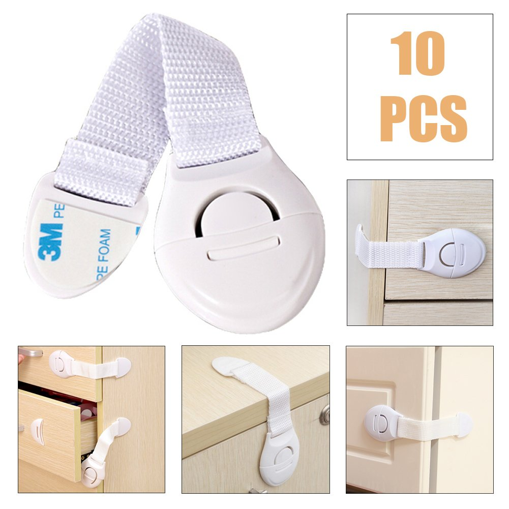 Baby Kids Safety Lock Latch Drawer Cupboard Cabinet Door Drawers Safety Catches 10 pack White Super Junior