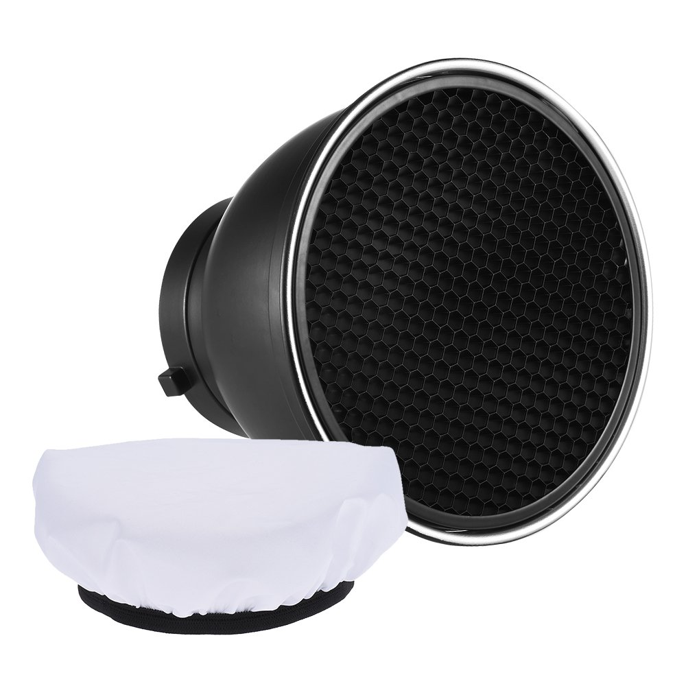 Andoer 7'' Standard Reflector Diffuser Lamp Shade Dish with 60° Honeycomb Grid White Soft Cloth for Bowens Mount Studio Strobe Flash Light Speedlite