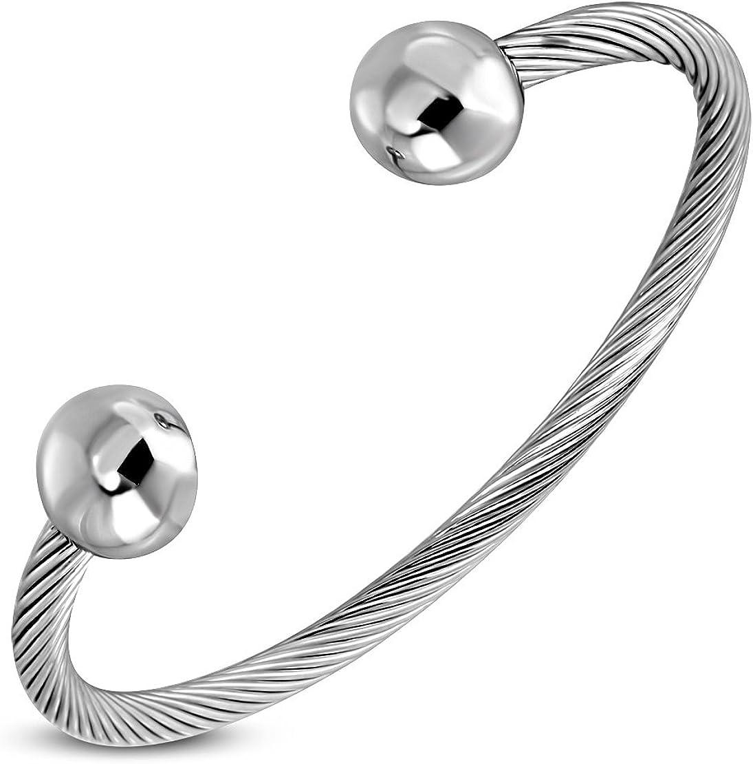 Fil de c/âble torsad/é Bracelet Torque celtique en acier inoxydable avec boule