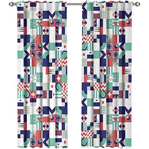 youpinnong Mid Century, Curtains Bedroom, Rich Contemporary Collection of Funky and Pastel Shapes, Curtains and Drapes for Living Room, W84 x L108 Inch, Mint Green Navy Blue Dark Coral