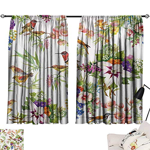 Ediyuneth Window Curtain Drape Floral,Watercolor Wild Exotic Mockingbirds and Spring Flowers Branches Botanical Artwork,Multicolor 63