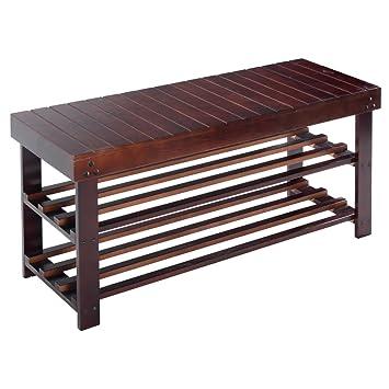 Giantex 36u0026quot; Solid Wood Shoe Bench Storage Racks Seat Organizer  Entryway Hallway Espresso(36u0026quot