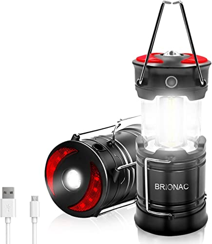 Rechargeable LED Camping Lantern, Brionac Newest Magnetic Lantern Tent Light 4-In-1 Flashlight with USB Cable, Best for Emergency, Hurricane, Power Outage – 2 Pack