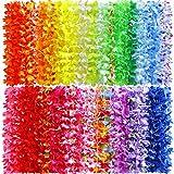Myamy 50 Counts Tropical Luau Flower Lei Theme Party Favors Hawaiian Leis Necklace Hawaii Silk Wreaths Holiday Wedding Beach Birthday Decorations Assortment