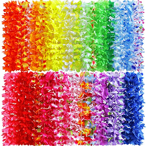 Myamy 50 Counts Tropical Luau Flower Lei Theme Party Favors Hawaiian Leis Necklace Hawaii Silk Wreaths Holiday Wedding Beach Birthday Decorations Assortment]()