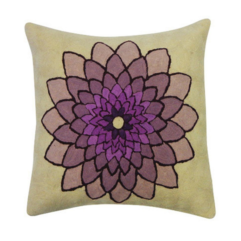 Vivai Home Purple Pond Lily Embroidered Square 16x 16 Cotton Feather Pillow
