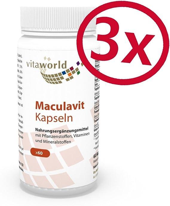Pack de 3 Maculavit 3 x 60 Cápsulas - Luteína/Zeaxantina/Vitaminas - Vita World Farmacia: Amazon.es: Salud y cuidado personal