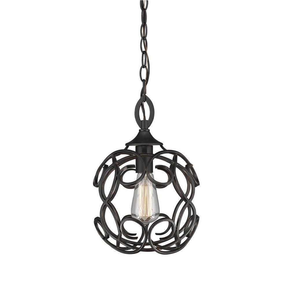 Golden Lighting 2870-M1L ABZ Selene - One Light Mini Pendant, Aged Bronze Finish