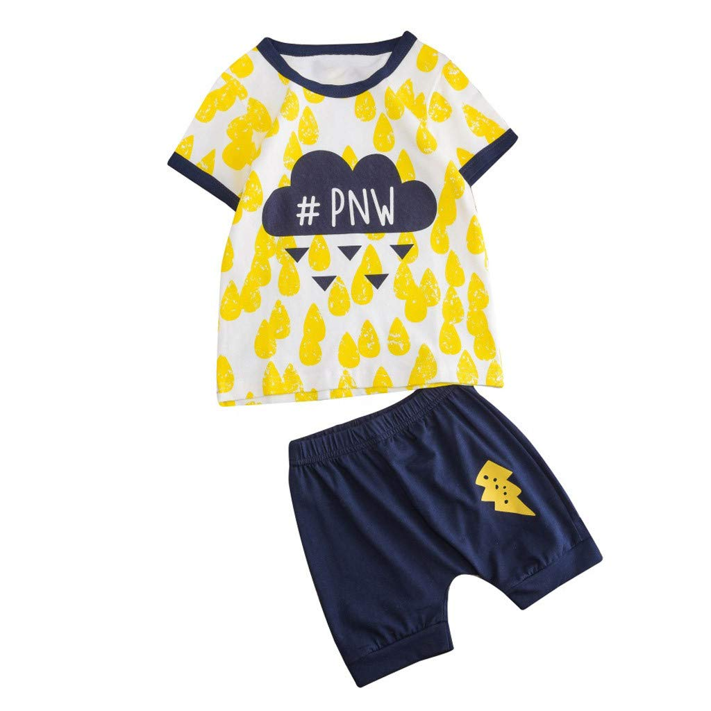 Baby Summer Cartoon Outfit,Jchen Baby Kids Little Boys Girls Cartoon Cloud Print Short Sleeve Tops+Shorts Outfits for 1-5 Y (Age: 3-4 Years Old, Yellow)
