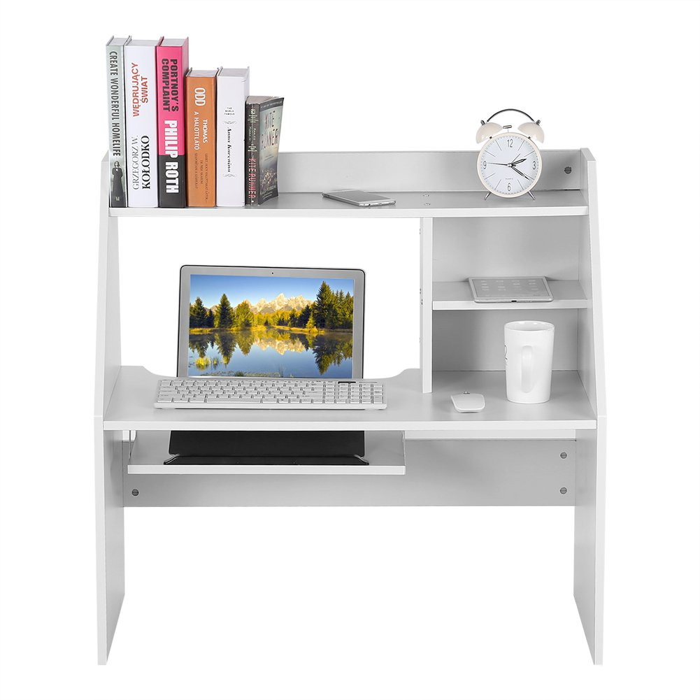 Dwawoo Wooden Storage Shelf, Multifunction Bed Computer Laptop Desk Bed Table for Dormitory Bedroom and More(White)