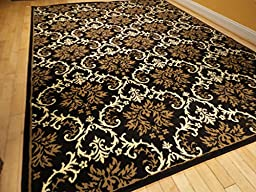 Large 8x11 Modern Rug Luxury Black Contemporary Rugs 8x10 Black Beige Cream Rug Large Rugs for Living Room (Large 8\'x11\' Rug)