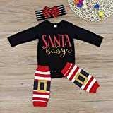 3Pcs Baby Girls Cute Long Sleeve Romper Leg Warmers Hairband Christmas Customes