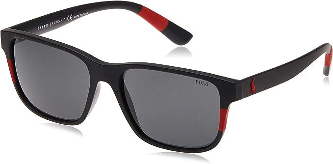 Polo 0PH4137 Gafas de sol, Ovaladas, 57, Matte Black/Red: Amazon ...