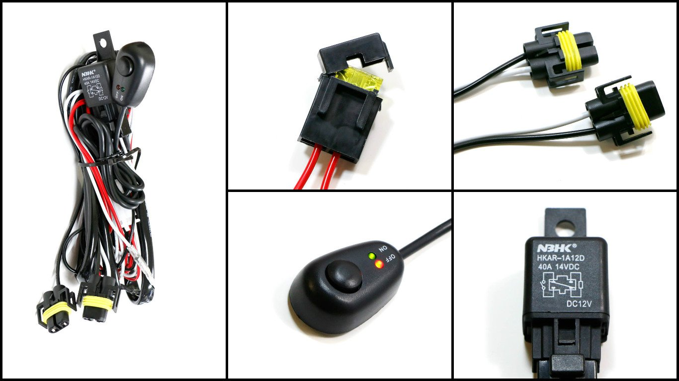 Ijdmtoy 1 H11 H8 Relay Harness Wire Kit With Led Light Add On Fog Wiring Diagram Off Switch For Aftermarket Lights Driving Hid Conversion