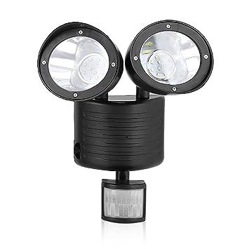 Dual Head Solar LED Lampe Außenleuchte mit Bewegungsmelder Wandleuchte Strahler
