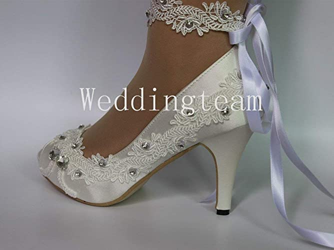 a8547dbef9b2 Amazon.com  sweet women new fathion 8cm heel satin white ivory lace ribbon  ankle open toe Wedding shoes  Handmade
