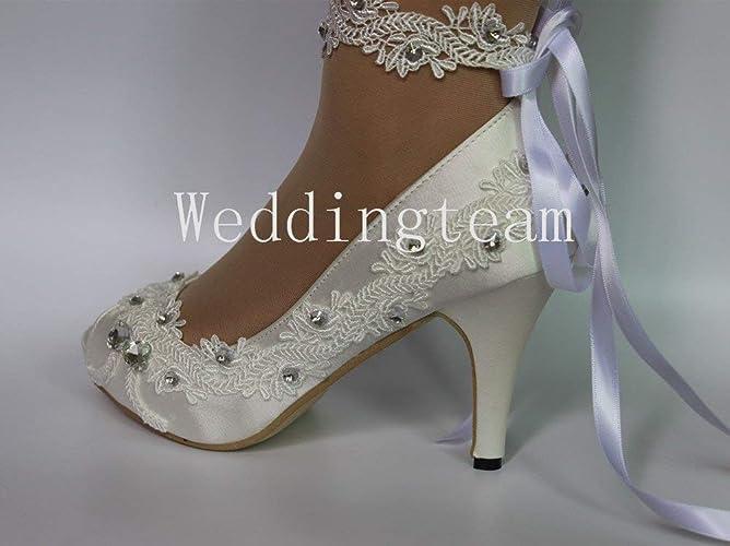 d2dc7ef827d Amazon.com  sweet women new fathion 8cm heel satin white ivory lace ribbon  ankle open toe Wedding shoes  Handmade