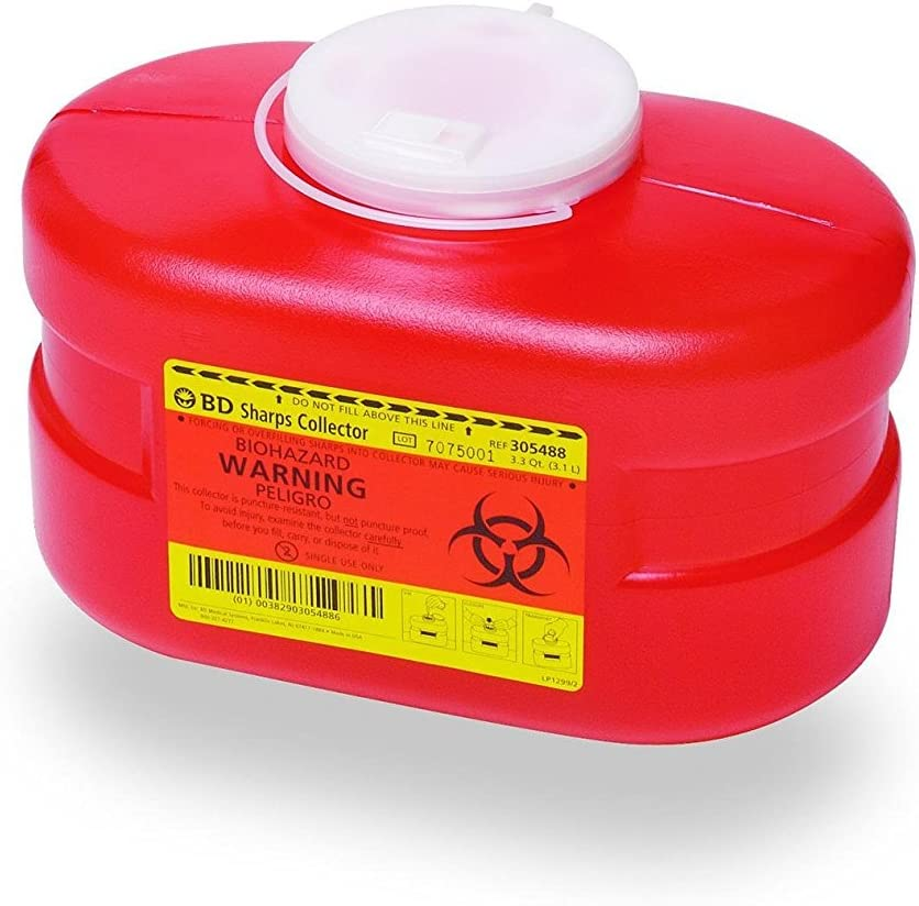 B-D Multi-Use One-Piece Sharps Containers - Regular Funnel Vented Cap, 3.3 Quart: Health & Personal Care