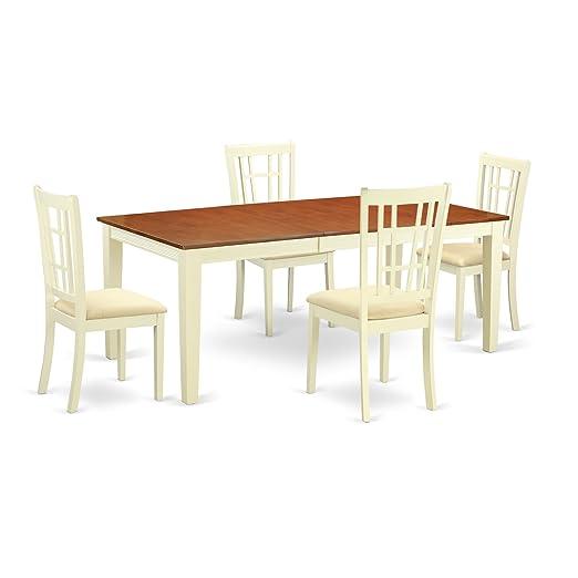 East West Furniture QUNI5-WHI-C - Mesa de Cocina pequeña (5 Piezas ...