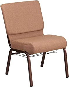 Flash Furniture HERCULES Series 21''W Church Chair in Caramel Fabric with Cup Book Rack - Copper Vein Frame