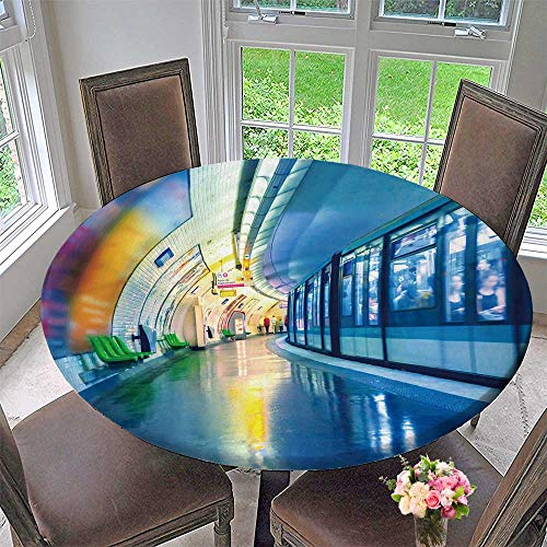 Round Polyester Tablecloth Table Cover Metro Station in Paris for Most Home Decor 47.5