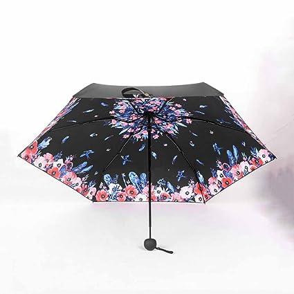 BiuTeFang Paraguas Paraguas paraguas paraguas UV al aire libre cápsula paraguas paraguas de impresión 55x95cm