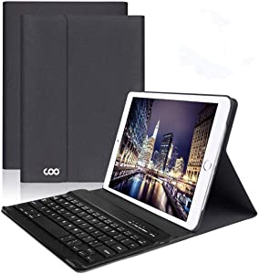 iPad Keyboard Case 9.7 for New iPad 2018 (6th Gen) - iPad Pro 2017 (5th Gen) - iPad Air 2/1 - COO Detachable Wireless Bluetooth Keyboard - Magnetic Auto Sleep/Wake (Black with Black Keyboard)