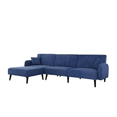 Mid Century Modern Style Linen Fabric Sleeper Futon Sofa, Living Room L Shape Sectional Couch with Reclining Backrest and Chaise Lounge (Navy)
