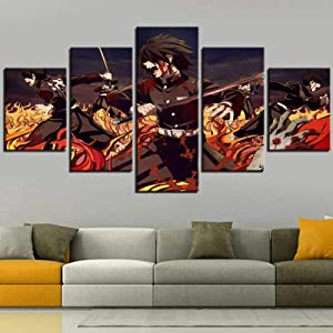Wall Art Framed Frameless Sports Wall Decor Poster for Living Room Bedroom Home Decor Hall Demon Slayer Ghost Team 5 Piece Canvas Wall Pictures