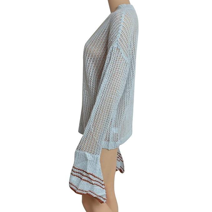 Luckycat Las Mujeres sólidas Manga Larga de la Llamarada Gradient Fringe Cardigan Tops Sweater Coat: Amazon.es: Ropa y accesorios