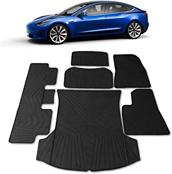 Heavy Duty /& Flexible Eco-Friendly All Season Latex Material by HEA Accessories All Weather Fits 2017-2019 Full Set Front /& Rear #1 Tesla Model 3 Floor Mats