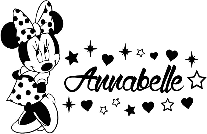 Name Wall Decal Minnie Mouse Vinyl Decals Sticker Custom Name Decals Personalized Baby Girl Name Decor Bedroom Nursery Baby Room Decor ZX59