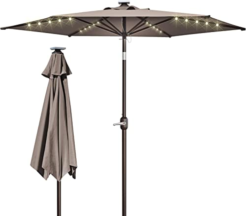 BenefitUSA 8 Patio Umbrella Outdoor Sunshade LED Lighted Tilt Aluminum Garden Market Balcony Taupe