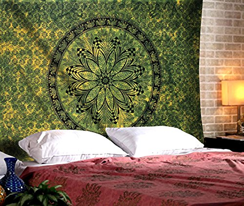 The Indian Craft Bohemian Floral Mandala Tapestry - Twin Boho Elephant Wall Hanging Medallion Printed Bedspread Sheet Decorative Hippie Flower Tapestries - Green - 84 X 54 Inches ()