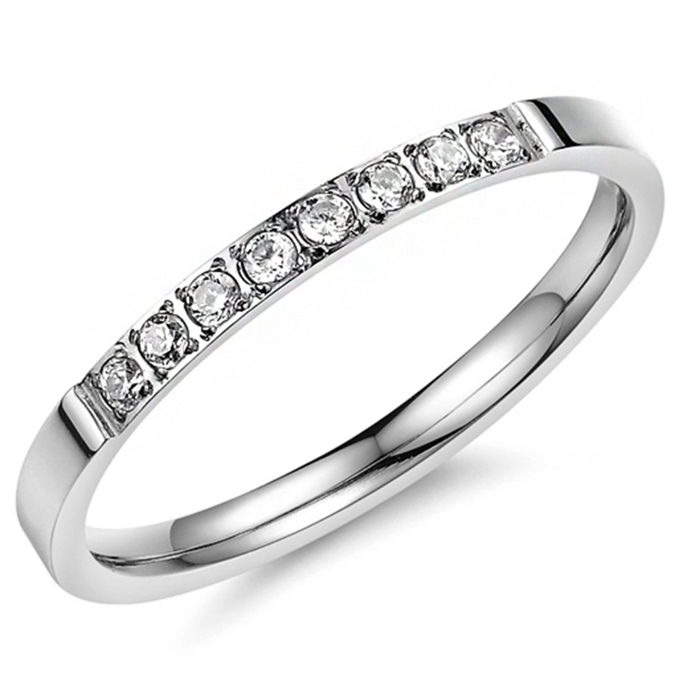 Women 2mm Titanium Stainless Steel Cubic Zirconia CZ Inlay White Gold Ring Wedding Engagement Silver Band Size 8