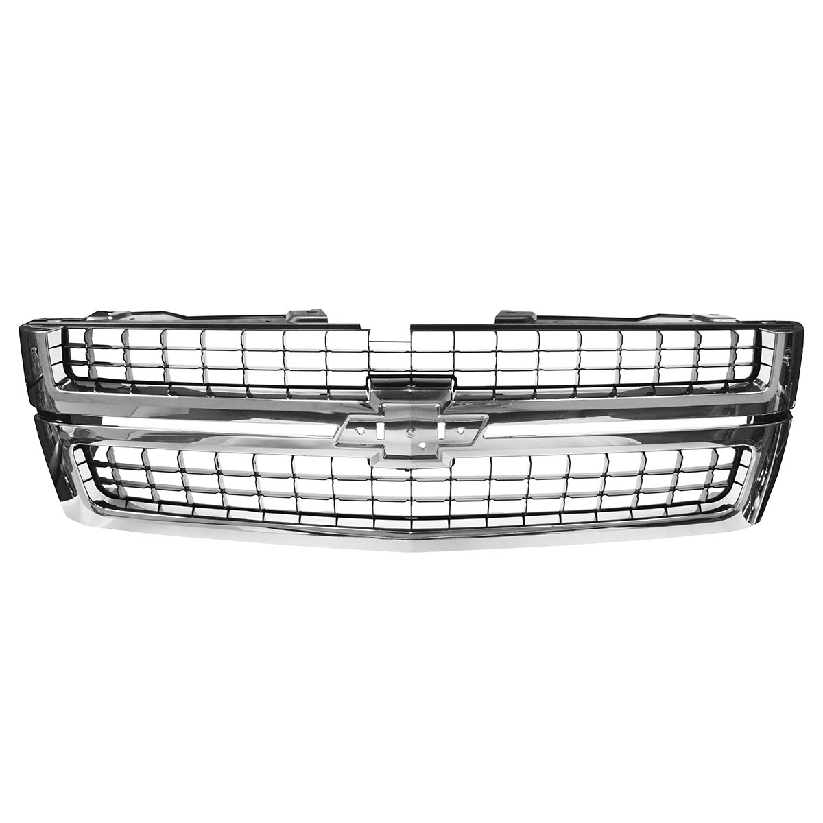 Grille Grill Chrome Black for 07-10 Chevy Silverado Truck 2500HD 3500HD