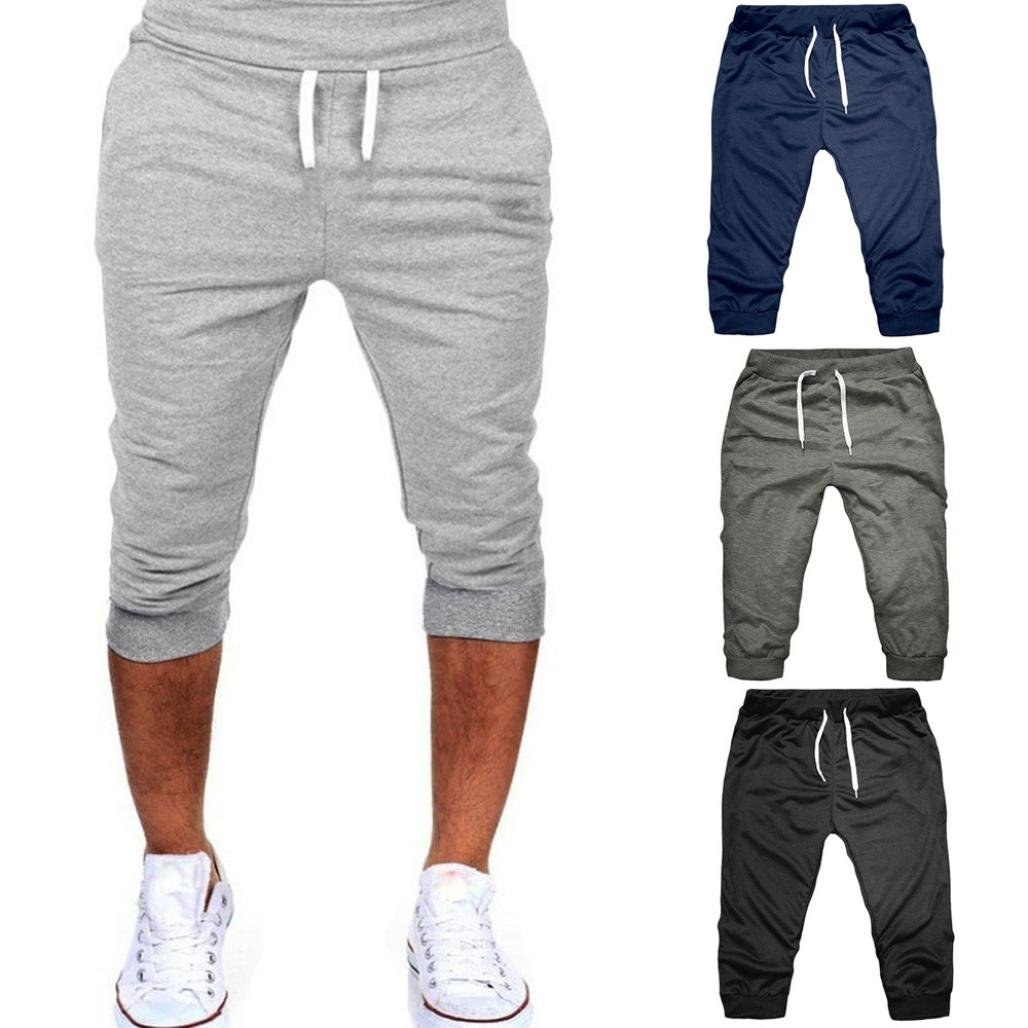 298ef1de9abb Amazon.com  2018 Summer new! PASATO Classic Men Gym Workout Jogging Shorts  Pants Fit Elastic Casual Sportswear  Clothing