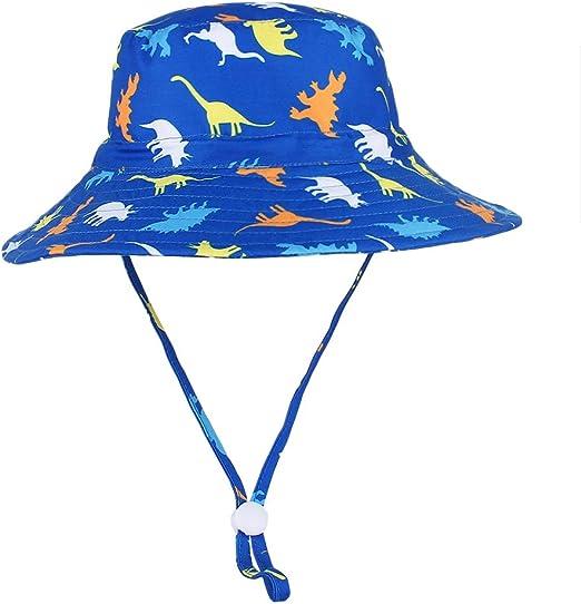 Details about  /KE/_ Kids Cartoon Print Wide Brim Anti-UV Fisherman Hat Chin Strap Bucket Cap L